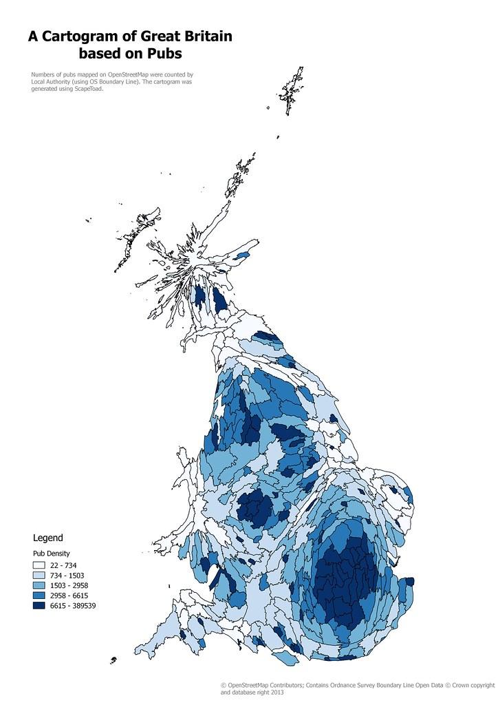 Pub Cartogram | Great Britain Local Authorities sized accord