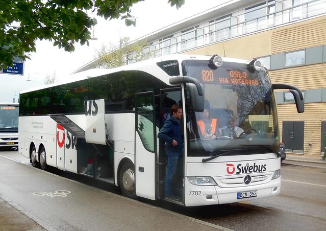 Swebus 7702 Mercedes Tourismo BCN352 route 820 Copenhagen to Oslo