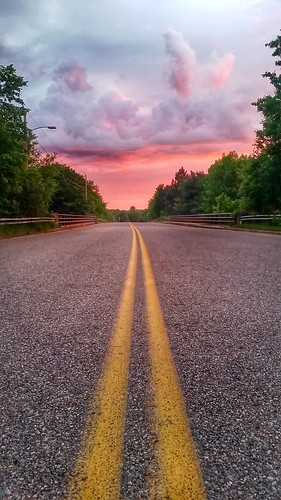 road pink trees sky nature weather clouds sunrise landscape purple horizon weatherphotography