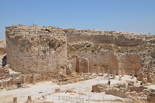 View of the round eastern towers and the central courtyard surrounded by on three sides by colonnades with Corinthian capitals, Upper Herodium, Israel | by Following Hadrian