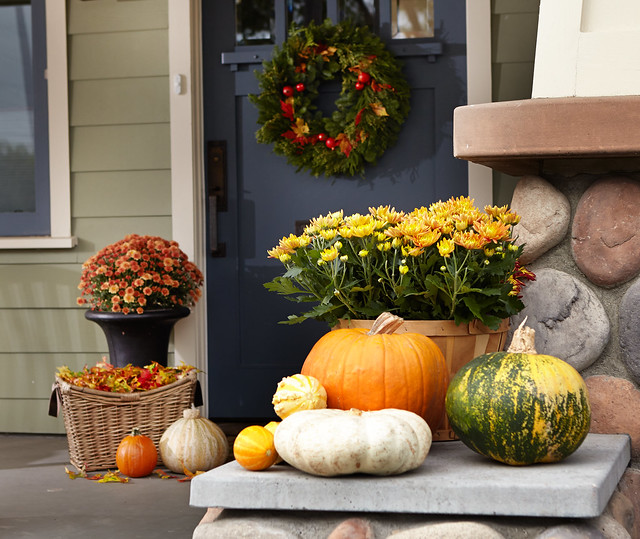 A selection of pumpkins and other fall squash on a doorstep with a flower pot and wreath