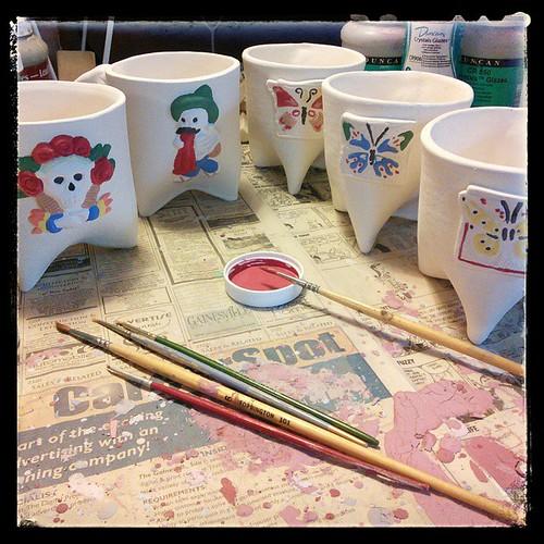 Second coat, in progress. #ceramics #mugs #painting | by haldechick