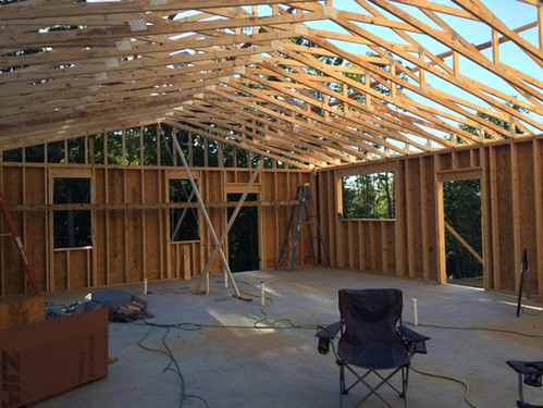 Inside the house just prior to roof sheathing
