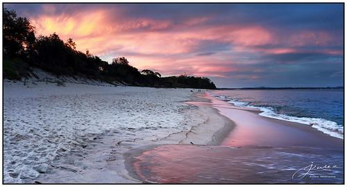 outdoor photoborder sand shore dusk sunset cloud coast wave water pink portstephens newsouthwales australia shoalbay summer