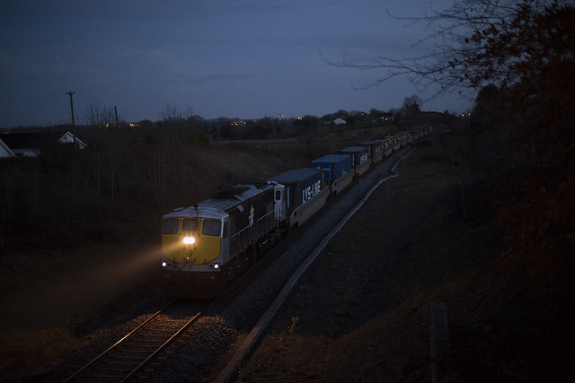 083 on Waterford-Ballina DFDS liner at Barry beg, Athlone on Friday 14-Nov-14