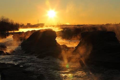 morning sunlight mist fog sunrise river landscape 多摩川 朝日
