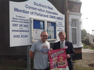 David Amess MP with constituent Paul Rothwell - winner of the Walkers Do Us A Flavour competition! | by AmessD