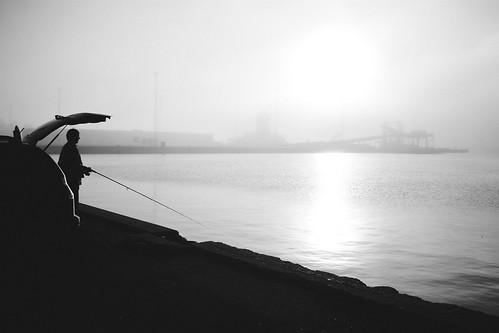 aarhus harbor fishing sunrise dawn