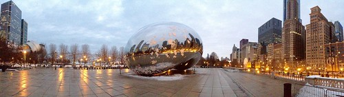 morning winter panorama snow chicago sunrise dawn bean millenniumpark cloudgate thebean pw