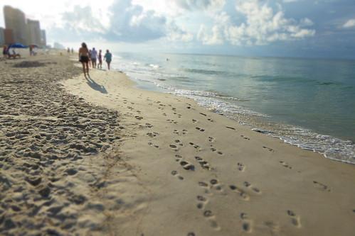 beach sand footprints gulfshores miniatureeffect