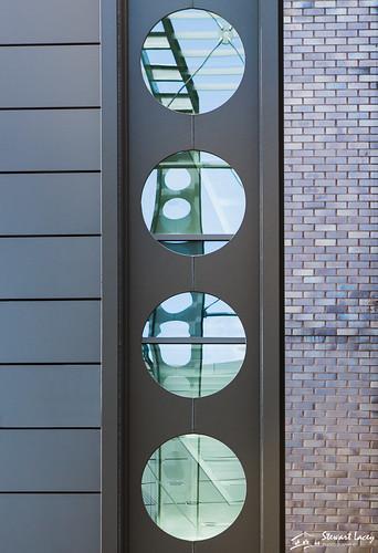 glass portraitformat brick reflections farnborough symmetry circles hampshire architecture contrasts steel abstract uk businesspark england unitedkingdom gb