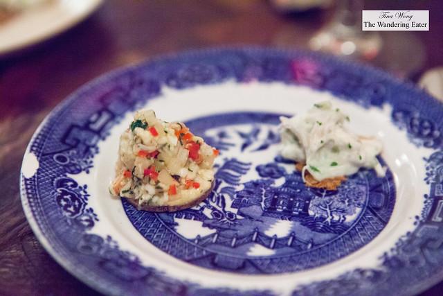Snack 3: Lobster relish, hazelnut mayonnaise, seaweed biscuit (red flecked ones) & Cod head, pickled salad on knakbrød