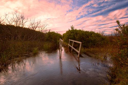 bridge sunset beach oceanshores