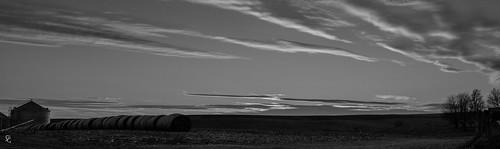 sunset panorama clouds landscape blackwhite dusk iowa hay dubuquecounty sdgiere