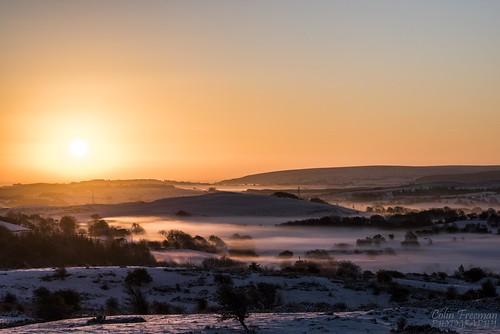 light shadow sky sun white mist mountain snow colour tree nature fog wales sunrise landscape golden nikon hill d750 bryn clwyd alyn