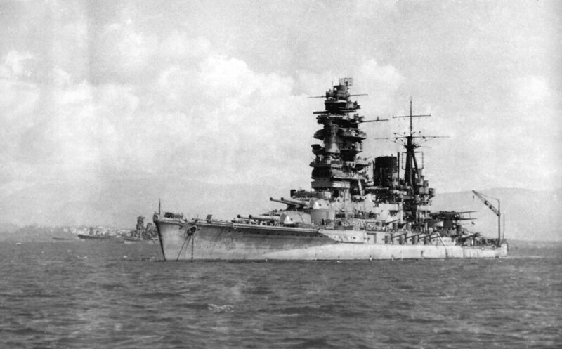 Nagato at anchor in Brunei Bay, 1944