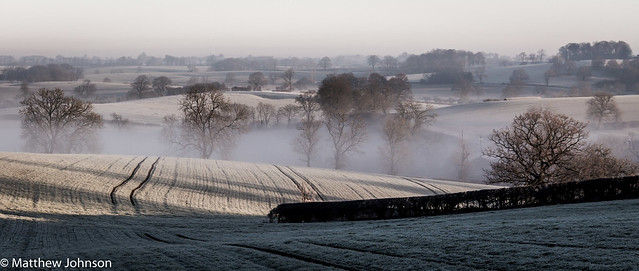 Frosty and misty morning in West Haddon, Northamptonshire