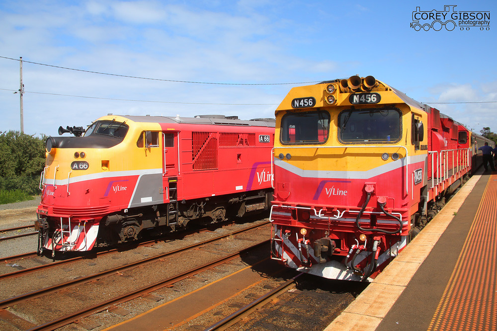 Vline Locomotives N456 & A66 at warrnambool station by Corey Gibson