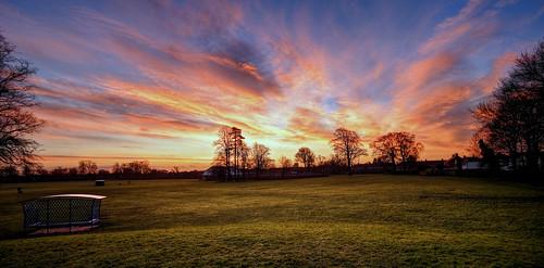 winter england orange green field yellow sunrise dawn unitedkingdom eastyorkshire cottingham