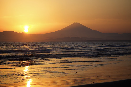 beach nature japan canon lens japanese sunsets enoshima dslr kanagawa mtfuji 100mm28 canon6d kugenumabeach