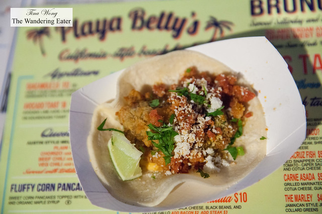 Taco-o-fella by Playa Betty's - Breaded fried oyster with spinach, chorizo, Valentina aioli with cojita cheese on corn tortilla