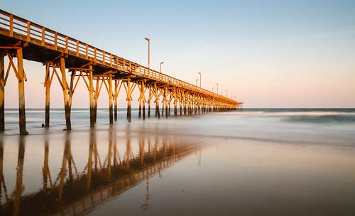 ocean longexposure sky usa beach landscape pier us jetty unitedstatesofamerica northcarolina atlanticocean northtopsailbeach onslowcounty 6xnd
