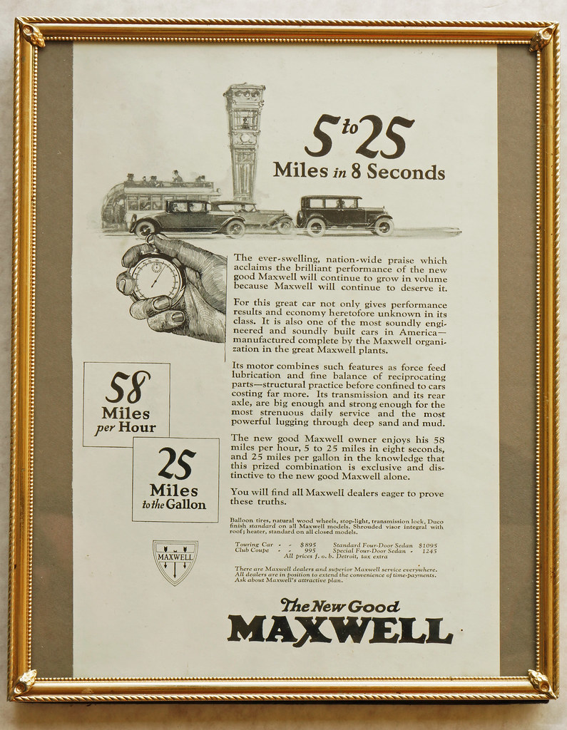 CM051 1925 Maxwell Car Ad Framed DSC04185