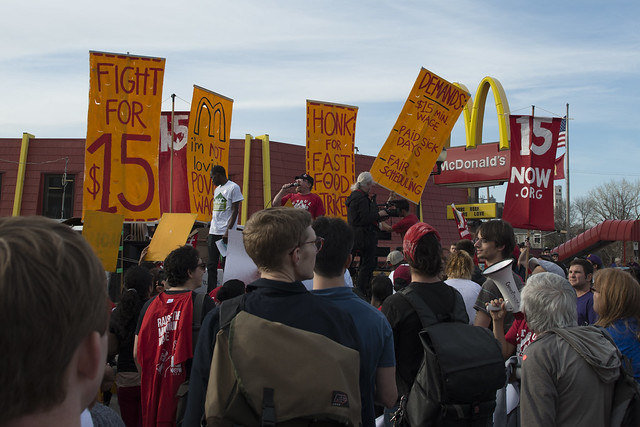 Strike and protest for a $15/hour minimum wage at a McDonalds restaurant