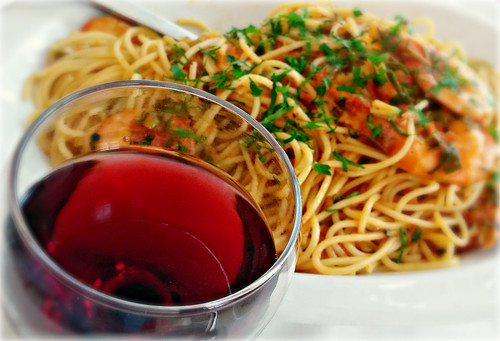 Wine Spaghetti and Shrimps | by Vassilis Online