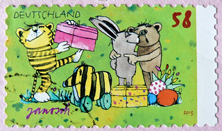 Easter text stamp  German Easter greetings   Unmounted rubber stamp 150205