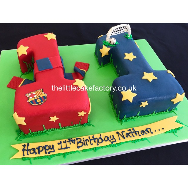 FC Barcelona 11th Number Cake Football Soccer Numeral Birthdaycake