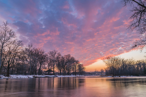 longexposure trees winter sunset sky snow reflection tree clouds reflections geotagged evening nikon unitedstates indiana elkhart islandpark stjosephriver nikond5300