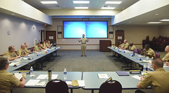 U.S. Pacific Fleet Master Chief Marco Ramirez speaks with senior enlisted leaders at PACFLT headquarters during the Senior Enlisted Leadership Training Symposium. (U.S. Navy/MC2 Brian M. Wilbur)