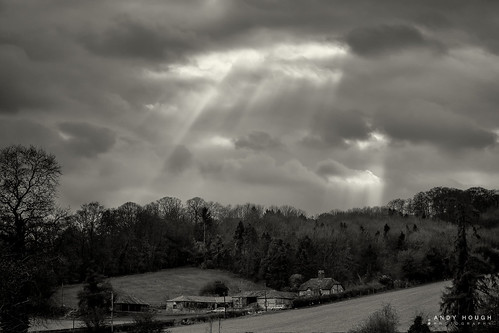 trees england monochrome weather clouds buildings landscape blackwhite unitedkingdom sony fields rays farmbuildings hambleden a99 sonyalpha andyhough wycombedistrict slta99v andyhoughphotography