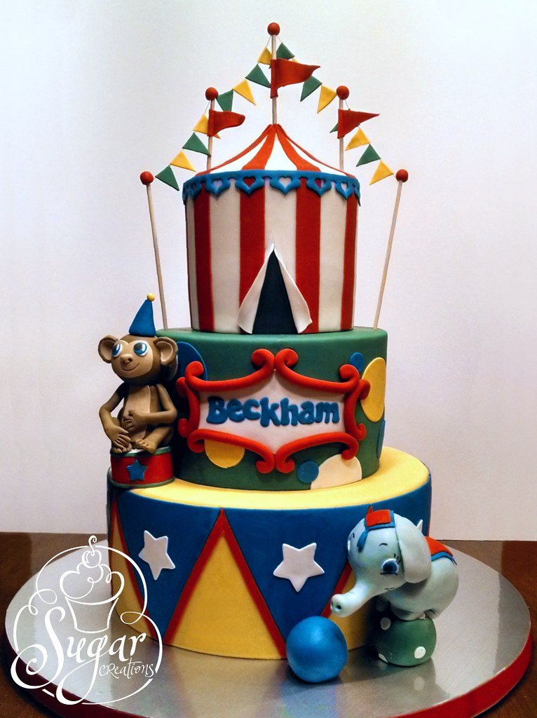 Awe Inspiring Carnival Circus Birthday Cake Didnt Have The Proper Dayli Flickr Personalised Birthday Cards Veneteletsinfo
