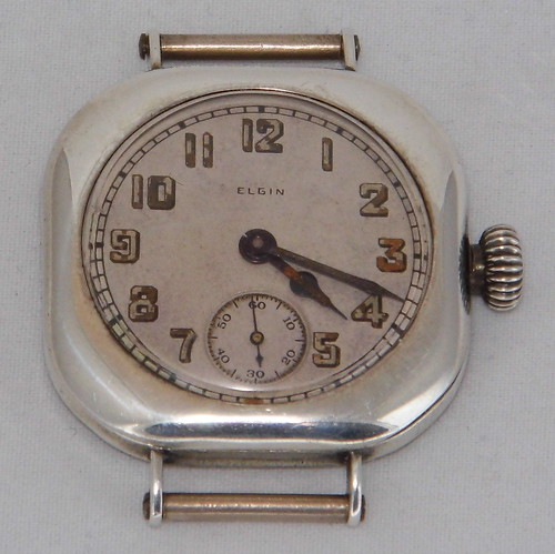 Vintage Elgin Men's Wrist Watch, Sterling Silver Case, 7 Jewels Circa 1918