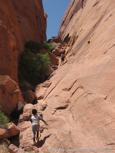 Hiking up Hole in the Rock (technically in Glen Canyon National Recreation Area, but accessed through Grand Staircase Escalante National Monument), Utah