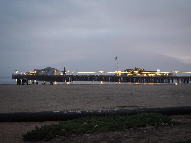 PC114068 Santa Barbara wharf cloudy sky Parade of Lights evening