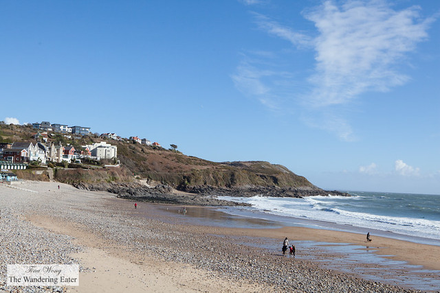 Langland Bay beach huts and homes by the coast