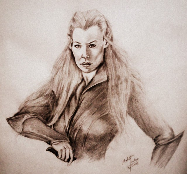 evangeline lilly as tauriel pencil drawing by mohit kumar rao artist 2015