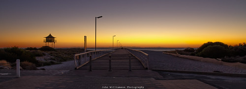 sunset beach water landscape jetty australia adelaide southaustralia semaphore watchtower oram