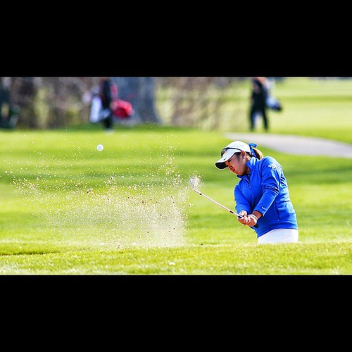 Pulling it out of the sand is no fuss for women's #golf #ISU #Sycamores