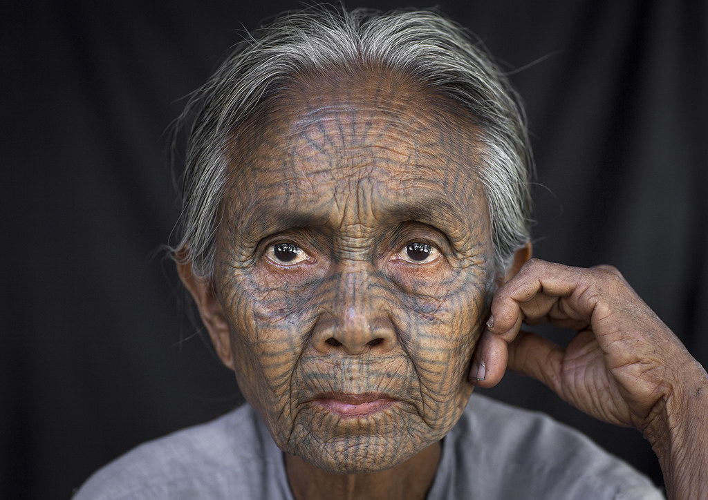 6b9d7d2db ... Tribal Chin Woman With Spiderweb Tattoo On The Face, Mrauk U, Myanmar    by