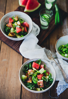 Watermelon & Halloumi Salad with Edamame | Cashew Kitchen | by cashewkitchen