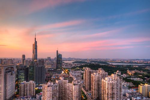 skyline city sunset nanjing cityscape sky cloud building architecture tall high hdr summer dusk dark twilight urban nikon d800 nikond800 tamronsp1530f28 outdoor nanjingshi jiangsusheng china cn