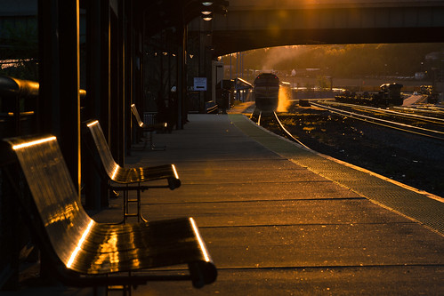 railroad station train sunrise railway trains mbta railfan goldenhour glint worcester commutertrain railroading