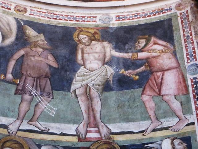 Flagellation du Christ, baptistère (XIIe, XIIIe), piazza del Duomo, Parme, Emilie-Romagne, Italie.