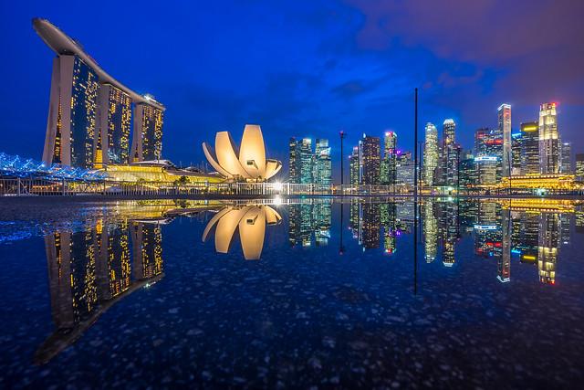 Marina Bay Singapore and its reflection [Explored]