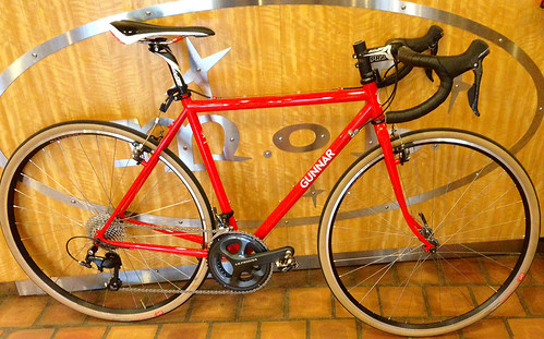 <p>Gunnar CrossHairs in Gunnar Red w/White Bullseye Decals at Mock Orange Bikes in Winston-Salem, NC.  It's outfitted with Shimano drivetrain (Ultegra and 105).</p>