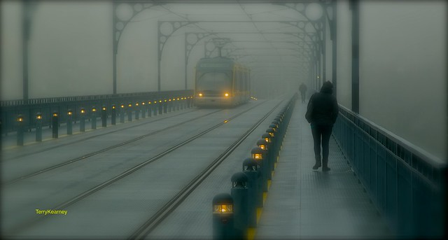 Fog on the Luís I Bridge Porto Portugal
